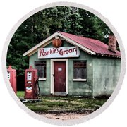 Rankins Grocery In Watercolor Round Beach Towel
