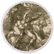 Rape Of Prosperpina Round Beach Towel
