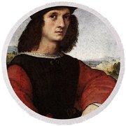 Raphael Portrait Of Agnolo Doni Round Beach Towel