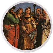 Raphael St Cecilia With Sts Paul John Evangelists Augustine And Mary Magdalene Round Beach Towel