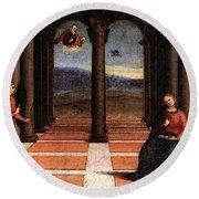 Raphael The Annunciation  Oddi Altar Predella  Round Beach Towel