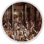Raphael The Baptism Of Constantine Round Beach Towel