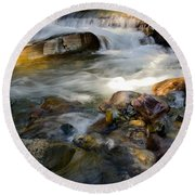 Rapids And Boulders Round Beach Towel