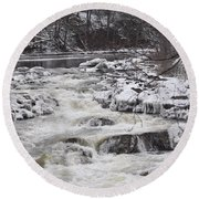 Rapids At Bull's Bridge 1 Round Beach Towel