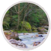 Rapids At The Rivers Bend Round Beach Towel