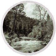 Rapids During Spring Flow On The South Platte River Round Beach Towel