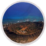 Rare Aerial View Of Extinct Volcanic Crater In Hawaii.  Round Beach Towel