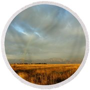 rare Morning Rainbow Round Beach Towel