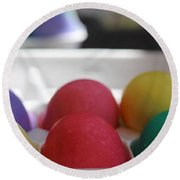 Raspberry And Hawaiian Surf Colored Easter Eggs Round Beach Towel