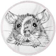 Rat Sketch Round Beach Towel