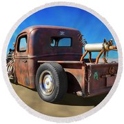Rat Truck On Beach 2 Round Beach Towel