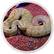 Rattlesnake In Abstract Round Beach Towel
