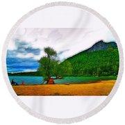 Rattlesnake Lake Round Beach Towel