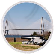 Ravanel Bridge From The Patriot Point Round Beach Towel