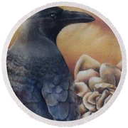 Raven And Roses Round Beach Towel