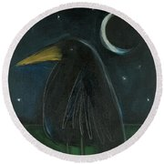 Raven By Moonlight No. 2 Round Beach Towel