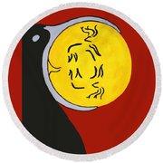 Raven Elk Moon  -013 Round Beach Towel