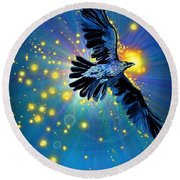 Raven First Bird Round Beach Towel