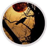 Raven Moon Round Beach Towel by Bill Cannon