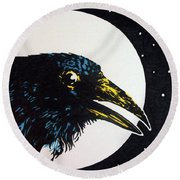 Raven Moon Round Beach Towel
