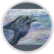 Raven Study 4 Round Beach Towel