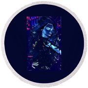 Raven Woman Round Beach Towel