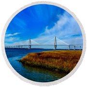 Ravenal Bridge Charleston South Carolina Round Beach Towel