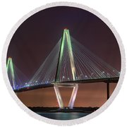 Ravenel Bridge Twilight Round Beach Towel