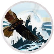 Ravens And The Stormy Sea Round Beach Towel