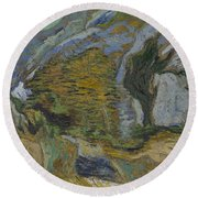 Ravine With A Small Stream Saint Remyde Provence  October 1889 Vincent Van Gogh 1853  1890 Round Beach Towel
