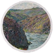 Ravines Of The Creuse At The End Of The Day Round Beach Towel