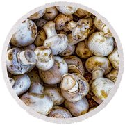 Raw Mushrooms Round Beach Towel