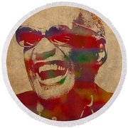 Ray Charles Watercolor Portrait On Worn Distressed Canvas Round Beach Towel