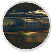 Rays Of God  Round Beach Towel
