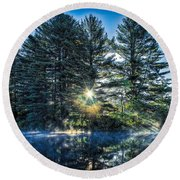 Rays Of Light On The Androscoggin River Round Beach Towel