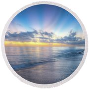 Rays Over The Reef Round Beach Towel