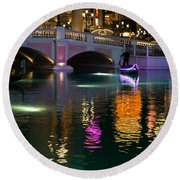 Razzle Dazzle - Colorful Neon Lights Up Canals And Gondolas At The Venetian Las Vegas Round Beach Towel