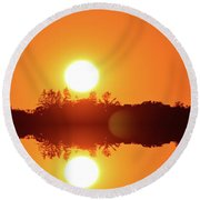 Reach Out Two  Round Beach Towel