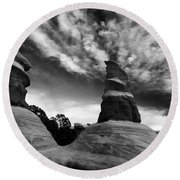 Reaching For The Clouds Round Beach Towel