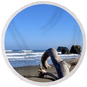 Reaching Back To The Sea Round Beach Towel