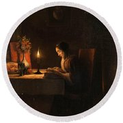 Reading By Candlelight Round Beach Towel
