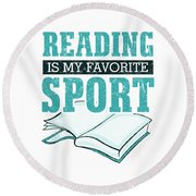 Reading Is My Favorite Sport Light Blue Round Beach Towel