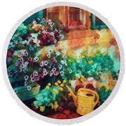 Ready To Water The Garden Oil Painting Round Beach Towel