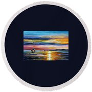 Real Sunset Round Beach Towel
