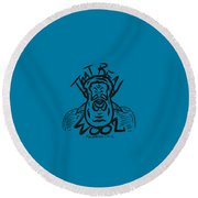 Real Wool Blue Round Beach Towel