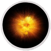 Realistic Fiery Explosion, Orange Color With Sparks Isolated On Black Background Round Beach Towel