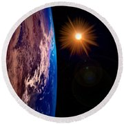 Realistic Illustration Of Earth And Sun Round Beach Towel