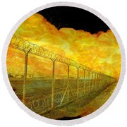 Realistic Orange Fire Explosion Behind Restricted Area Barbed Wire Fence Round Beach Towel