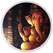 Portrait Of Lord Ganapathy Ganesha Round Beach Towel