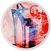 Big Bad Stiletto  Round Beach Towel